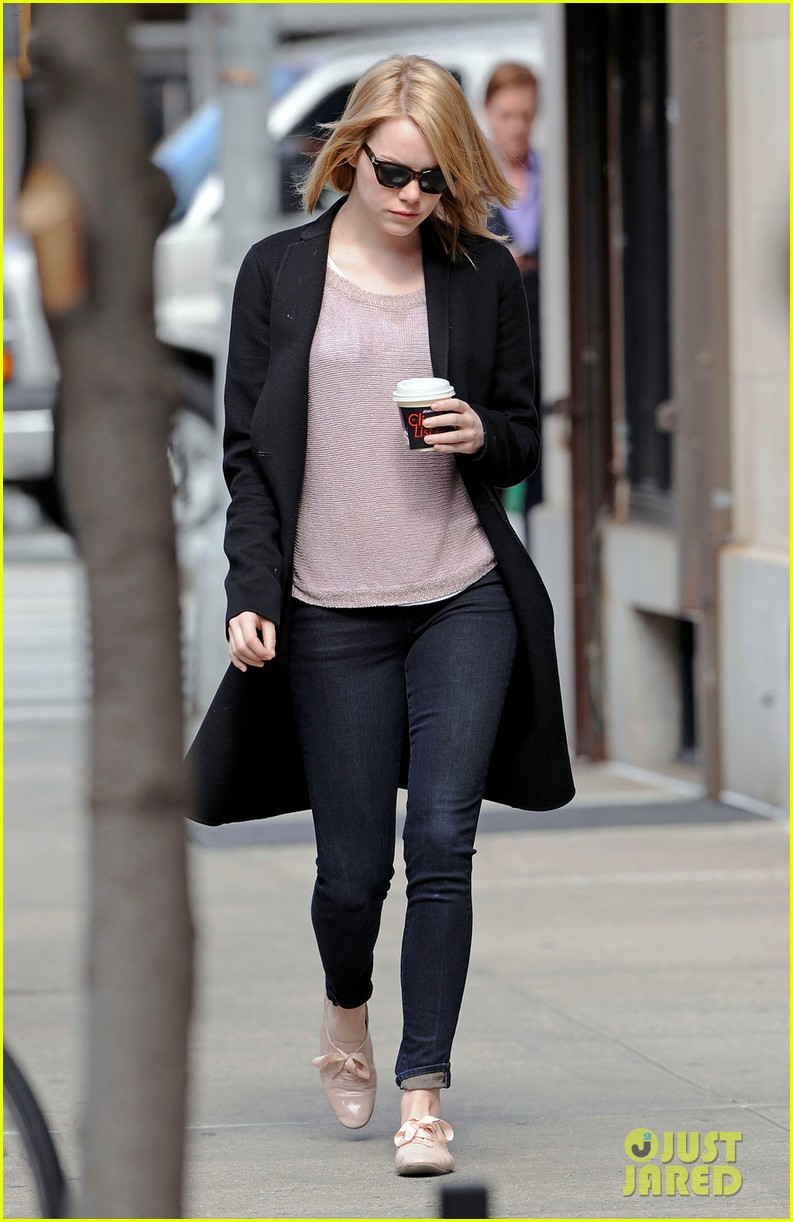 """Emma Stone, star of the upcoming """"The Amazing Spider-Man"""", is seen after grabbing breakfast and a cup of coffee at Zaro's Bakery in NYC"""